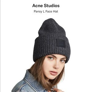 Acne Studios Pansy L Face Charcoal Gray Wool Hat